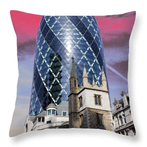 The Gherkin London Throw Pillow by Jasna Buncic