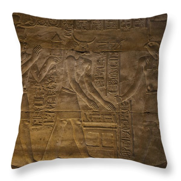 The Gods Horus, Hathor And The Pharaoh Throw Pillow by Taylor S. Kennedy