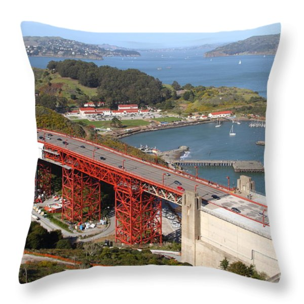 The Golden Gate Bridge North Side Overlooking Angel Island And Tiburon And Horseshoe Bay . 7d14540 Throw Pillow by Wingsdomain Art and Photography