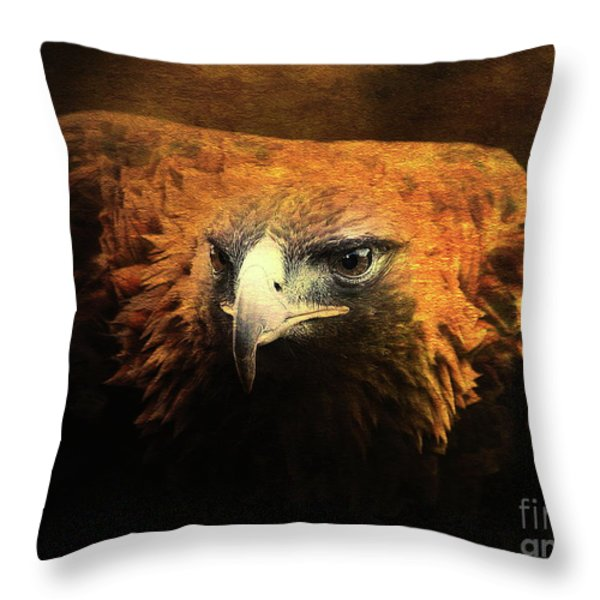 The Golden Hawk Locks On Target . R3593 Throw Pillow by Wingsdomain Art and Photography