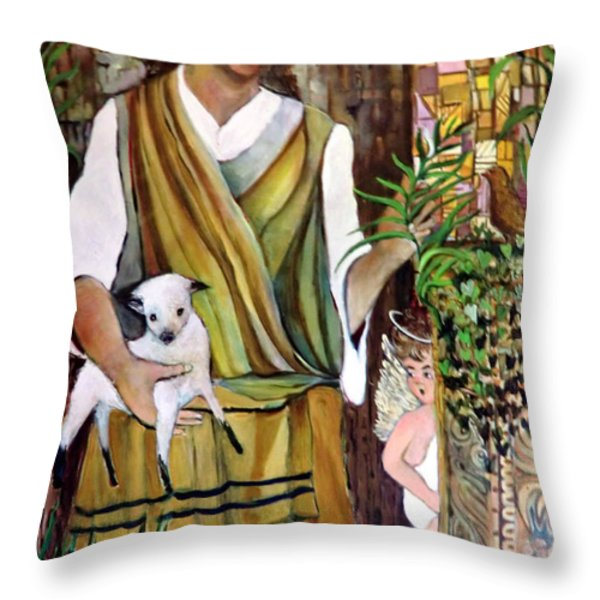 The Good Shephard At The Door Throw Pillow by Mindy Newman