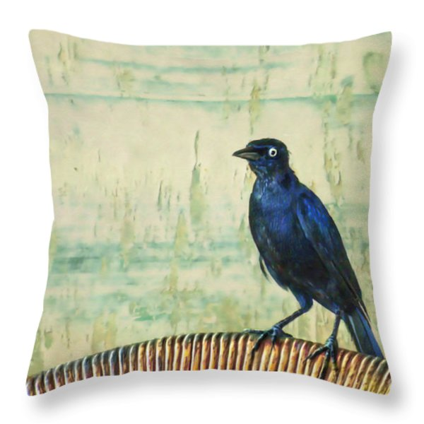 The Grackle Throw Pillow by John Edwards