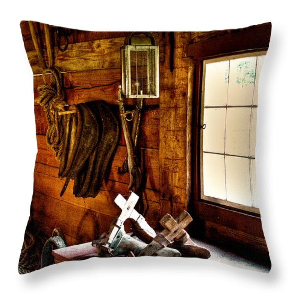 The Granary At Fort Nisqually Throw Pillow by David Patterson