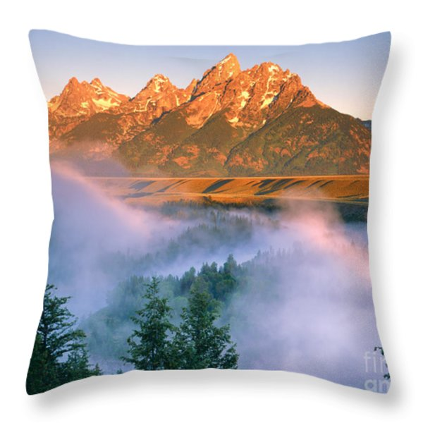 The Grand Tetons Throw Pillow by Dennis Flaherty and Photo Researchers