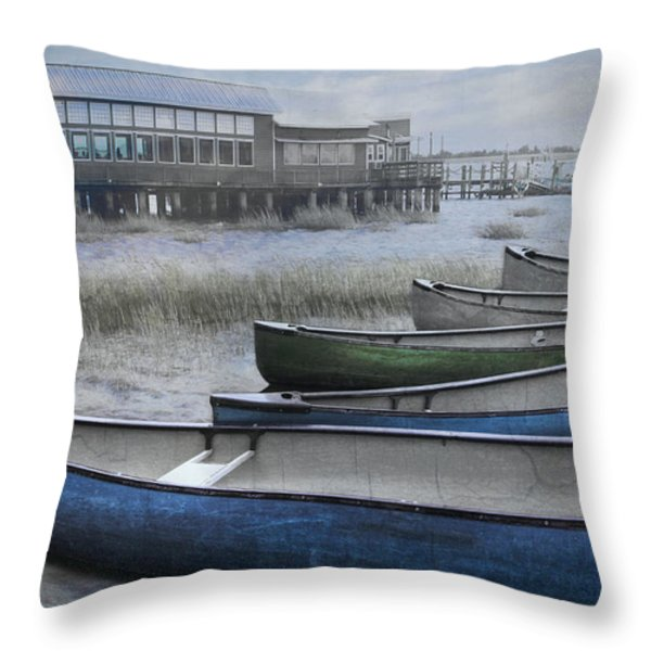 The Green Canoe Throw Pillow by Debra and Dave Vanderlaan