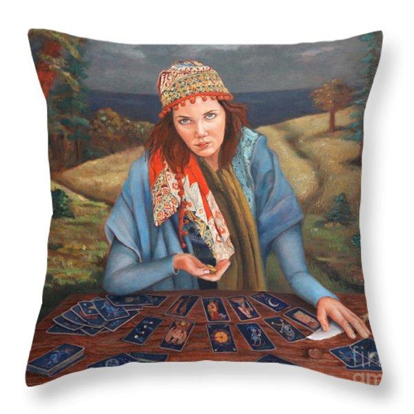 The Gypsy Fortune Teller Throw Pillow by Enzie Shahmiri