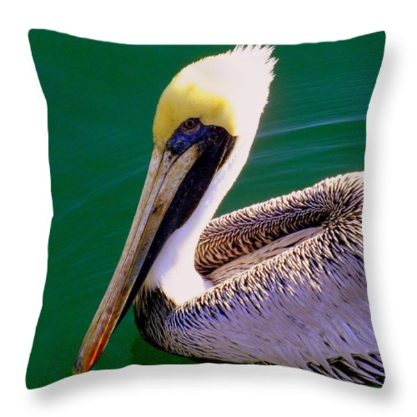 The Happy Pelican Throw Pillow by KAREN WILES