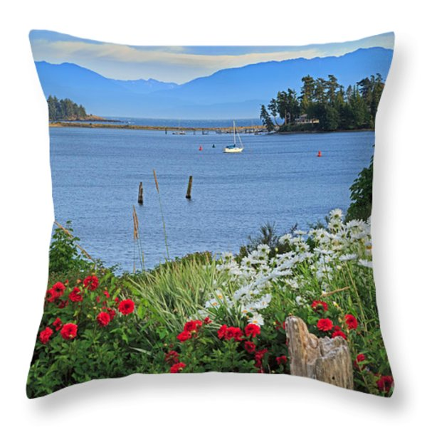 The Harbor At Sooke Throw Pillow by Louise Heusinkveld