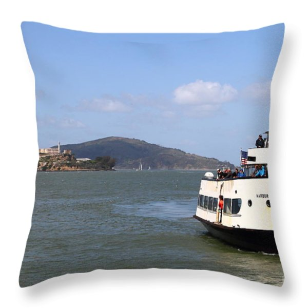 The Harbor King Ferry Boat On The San Francisco Bay With Alcatraz Island In The Distance . 7d14355 Throw Pillow by Wingsdomain Art and Photography