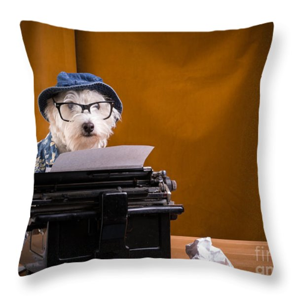 The Hard Boiled Journalist Throw Pillow by Edward Fielding