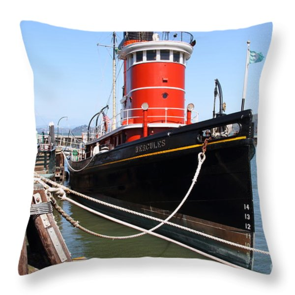 The Hercules . A 1907 Steam Tug Boat At The Hyde Street Pier In San Francisco California . 7d14137 Throw Pillow by Wingsdomain Art and Photography