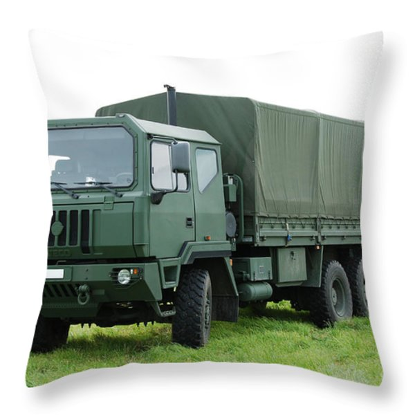 The Iveco M250 Used By The Belgian Army Throw Pillow by Luc De Jaeger