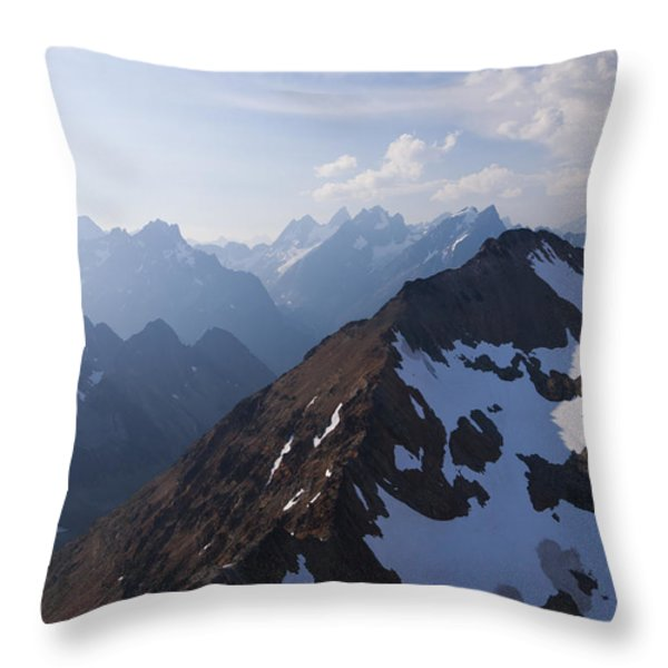 The Jagged Tops Of High Mountain Peaks Throw Pillow by Taylor S. Kennedy