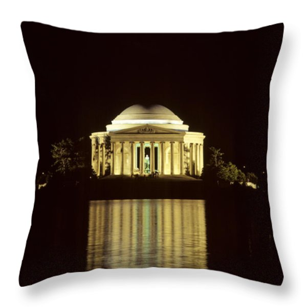 The Jefferson Memorial At Night Throw Pillow by Kenneth Garrett