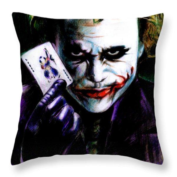 The Joker Throw Pillow by Lin Petershagen