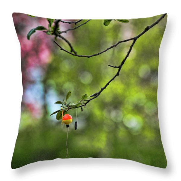 The Joy of Fishing Throw Pillow by Bonnie Bruno