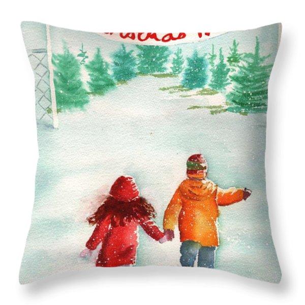 The Joy of Selecting a Christmas Tree Throw Pillow by Sharon Mick