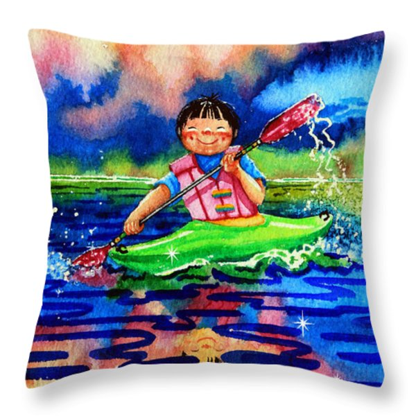 The Kayak Racer 11 Throw Pillow by Hanne Lore Koehler