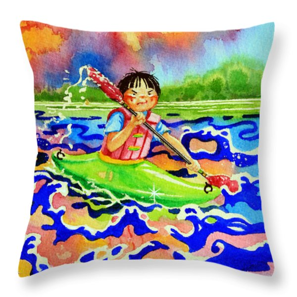 The Kayak Racer 12 Throw Pillow by Hanne Lore Koehler