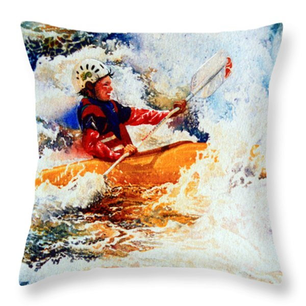 The Kayak Racer 19 Throw Pillow by Hanne Lore Koehler
