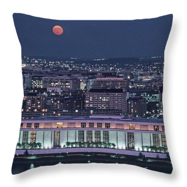 The Kennedy Center Lit Up At Night Throw Pillow by Kenneth Garrett