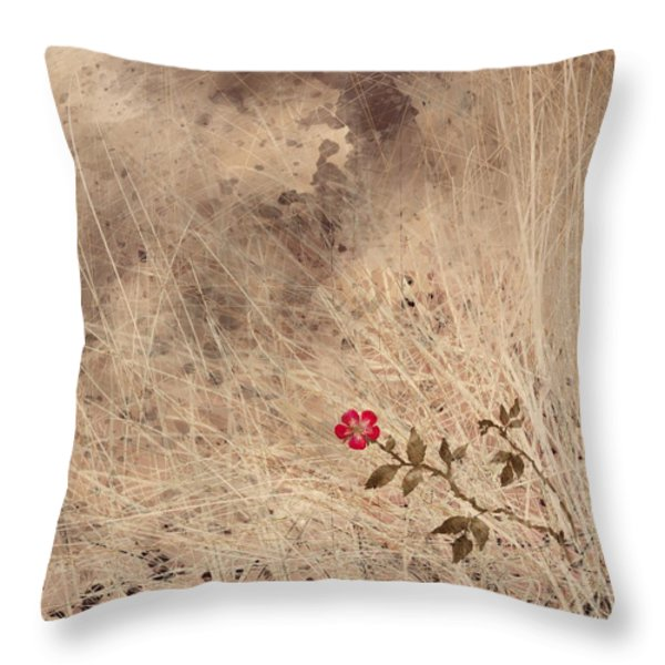The Last Blossom Throw Pillow by Rachel Christine Nowicki