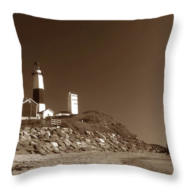 THE LIGHT AT MONTAUK POINT Throw Pillow by Skip Willits
