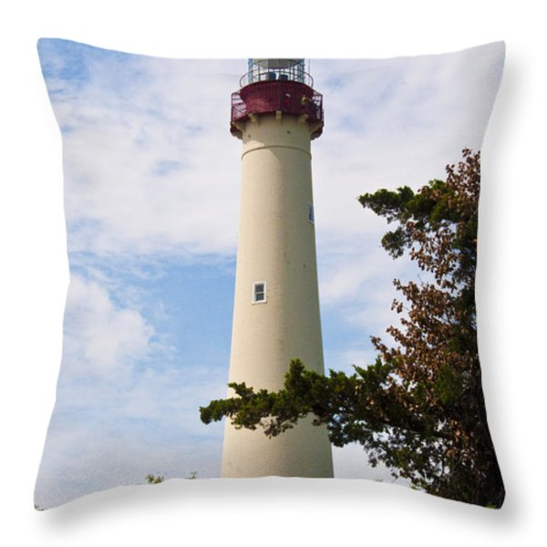 The Lighthouse at Cape May New Jersey Throw Pillow by Bill Cannon