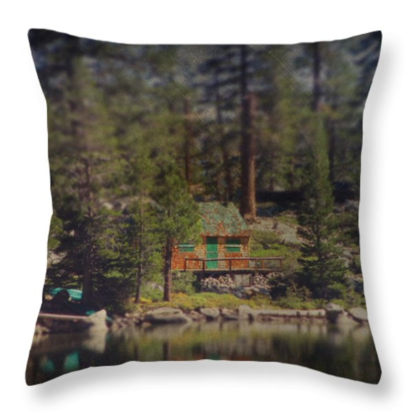 The Little Cabin Throw Pillow by Laurie Search