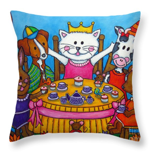 The Little Tea Party Throw Pillow by Lisa  Lorenz