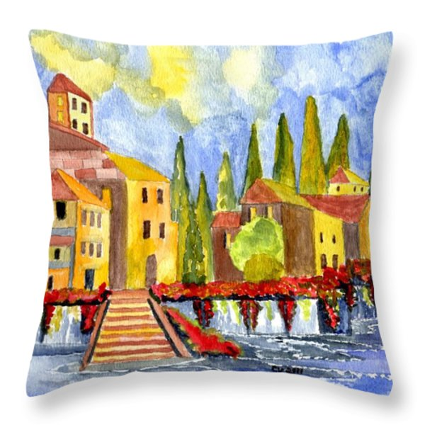 The little Village Throw Pillow by Connie Valasco