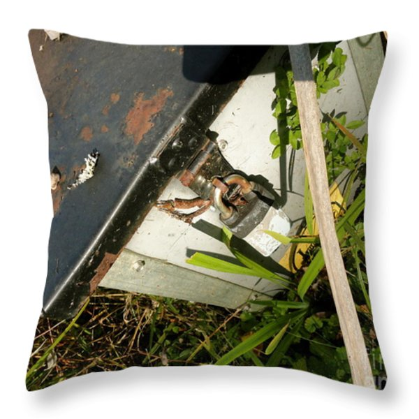the lock box Throw Pillow by Trish Hale