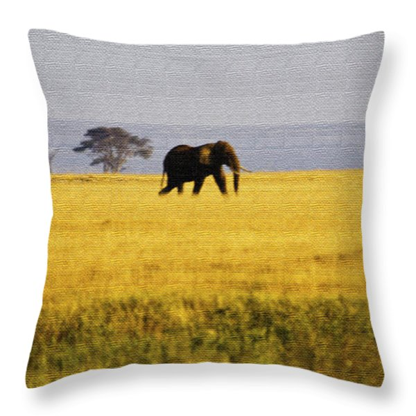 The Lone Elephant Throw Pillow by Pravine Chester