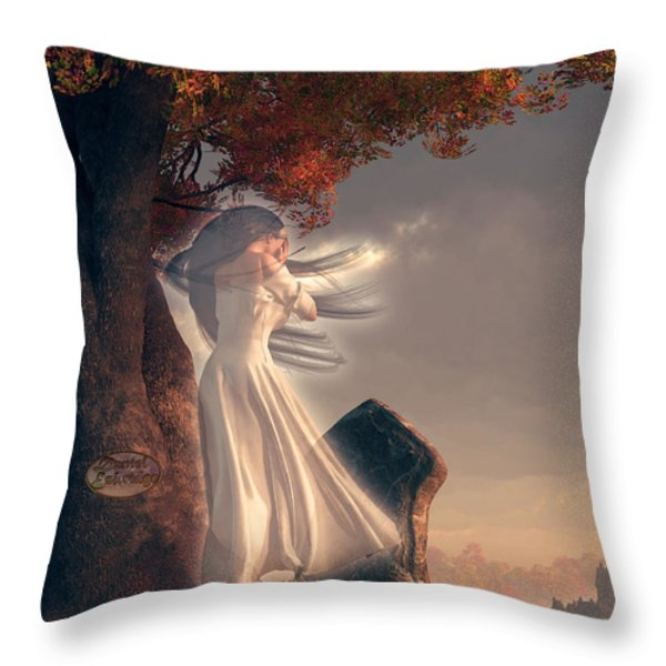 The Lonely Ghost of October Throw Pillow by Daniel Eskridge