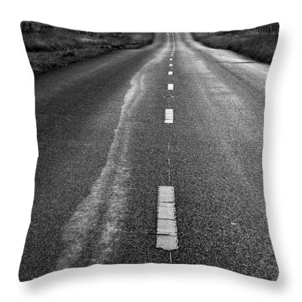 The Long Road Home . 7D9898 . Black and White Throw Pillow by Wingsdomain Art and Photography