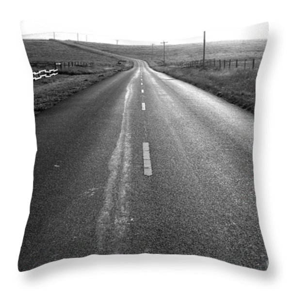 The Long Road Home . 7D9903 . Black and White Throw Pillow by Wingsdomain Art and Photography