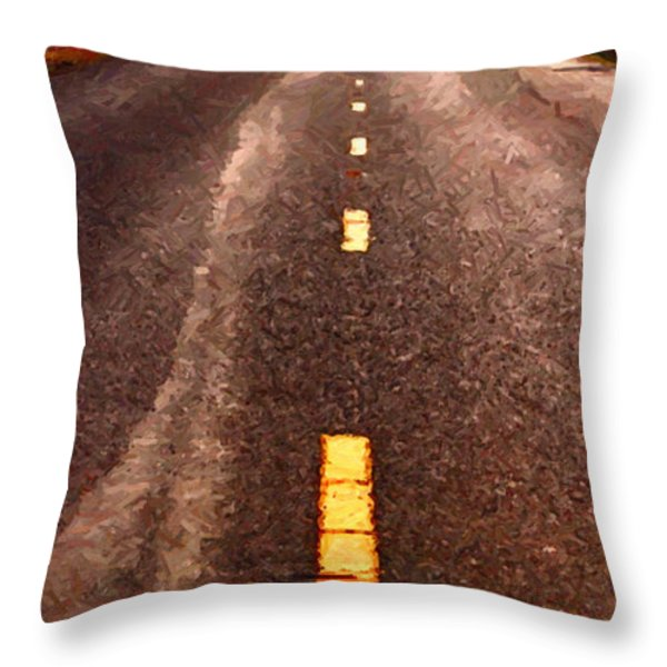 The Long Road Home . Painterly Style . Long Size Throw Pillow by Wingsdomain Art and Photography