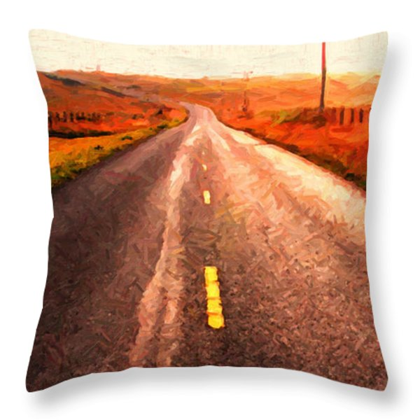 The Long Road Home . Painterly Style . Wide Size Throw Pillow by Wingsdomain Art and Photography