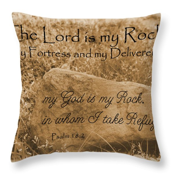 The Lord Is My Rock Psalm 18 Throw Pillow by Robyn Stacey