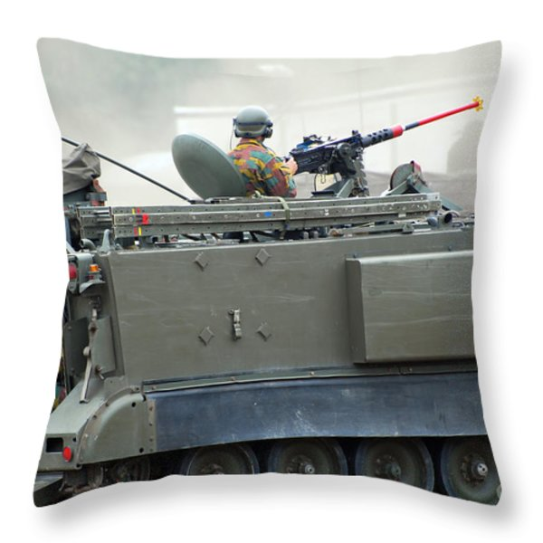 The M113 Tracked Infantry Vehicle Throw Pillow by Luc De Jaeger