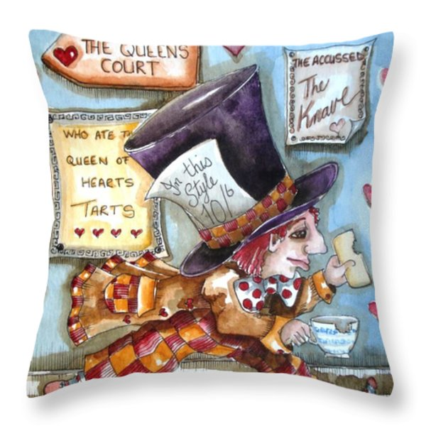 The Mad Hatter - In Court Throw Pillow by Lucia Stewart