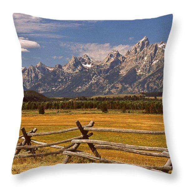 The Majestic Tetons Throw Pillow by Joe Elliott