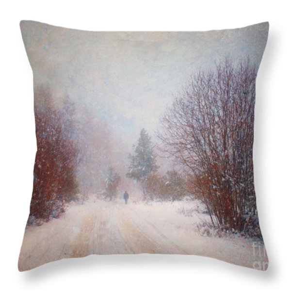 The Man in the Snowstorm Throw Pillow by Tara Turner
