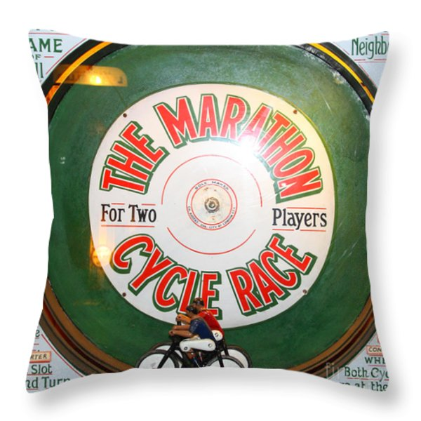 The Marathon Cycle Race At The Musee Mecanique At Fishermans Wharf . San Francisco Ca . 7d14396 Throw Pillow by Wingsdomain Art and Photography