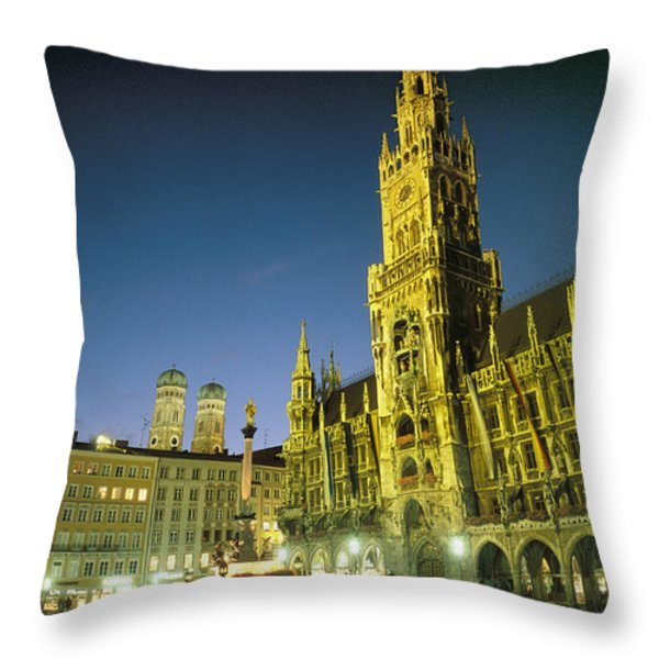 The Marienplatz at night Throw Pillow by TAYLOR S. KENNEDY