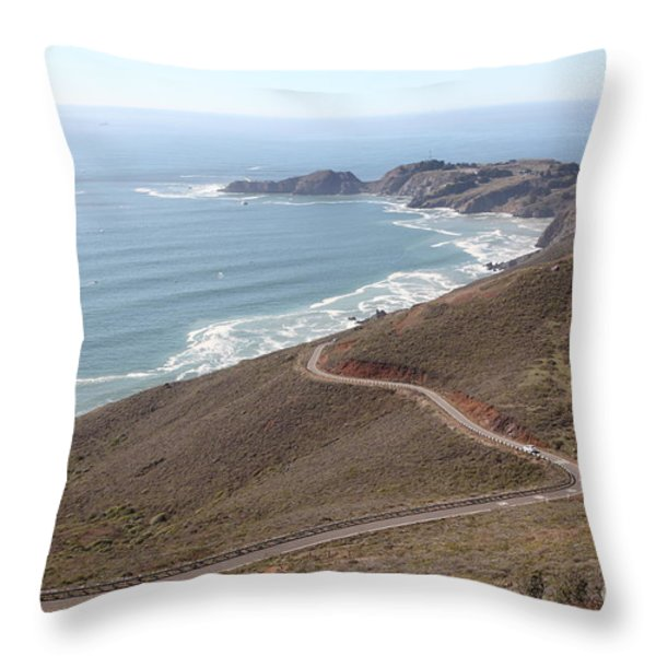 The Marin Headlands - California Shoreline - 5D19593 Throw Pillow by Wingsdomain Art and Photography