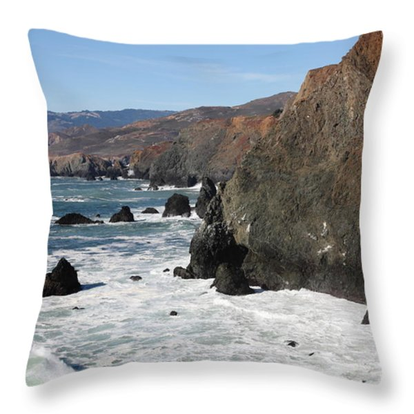 The Marin Headlands - California Shoreline - 5D19692 Throw Pillow by Wingsdomain Art and Photography