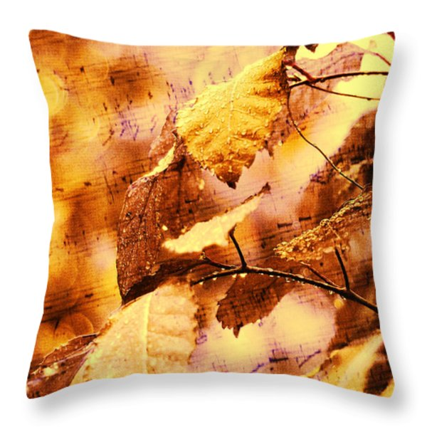 The Melody Of The Golden Rain Throw Pillow by Jenny Rainbow