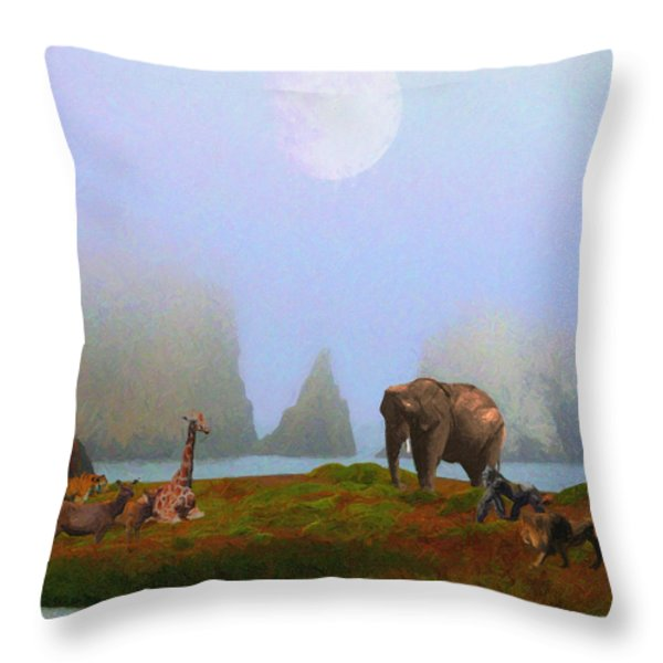 The Menagerie . Painterly Throw Pillow by Wingsdomain Art and Photography