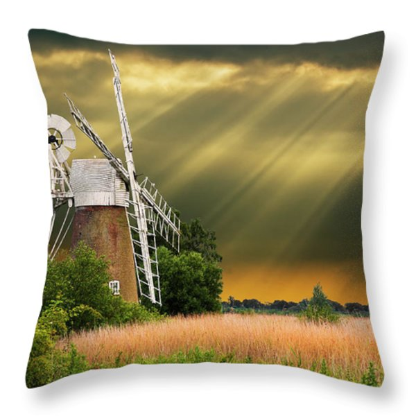 The Mill On The Marsh Throw Pillow by Meirion Matthias